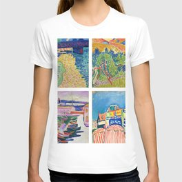 Henry Matisse Collage - 6 Views of England & France, Charing Cross, Mts. Colloure, River Thames, T-shirt