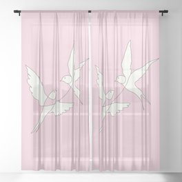 Two Swallows Line Art Sheer Curtain