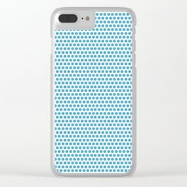 Modern blue white geometric polka dots pattern Clear iPhone Case