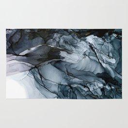Dark Payne's Grey Flowing Abstract Painting Rug