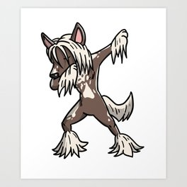Funny Dabbing Chinese Crested Dog Dab Dance Art Print