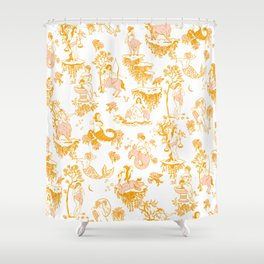 Astrology-Inspired Zodiac Gold Toile Pattern Shower Curtain