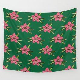 Hand Drawn Old School Tattoo Flower - Dark Green Wall Tapestry