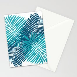 Modern Tropical Palm Leaves Painting blue on white background Stationery Cards