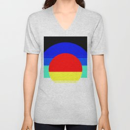 Colorful Mod Abstract Unisex V-Neck