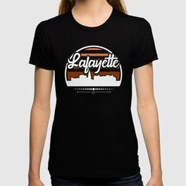 Retro Lafayette Indiana Sunset Skyline T-shirt