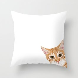 Peeking Orange Tabby Cat - cute funny cat meme for cat ladies cat people Throw Pillow