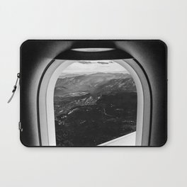 Window Seat // Scenic Mountain View from Airplane Wing // Snowcapped Landscape Photography Laptop Sleeve