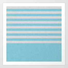 Sky blue and gray color block and stripes Art Print
