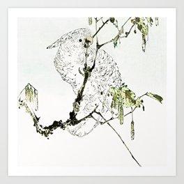 Vintage Minimal Tropical Bird Drawing Art Print
