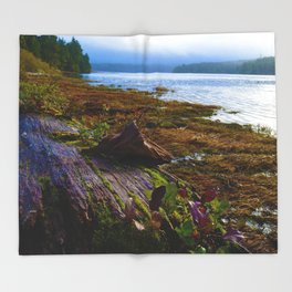 Ucluelet Inlet on an early fall morning Throw Blanket