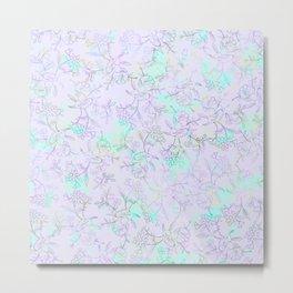 Modern lavender turquoise hand drawn watercolor botanical floral Metal Print
