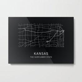 Kansas State Road Map Metal Print