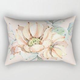 Country Cactus Coral Roses Rectangular Pillow