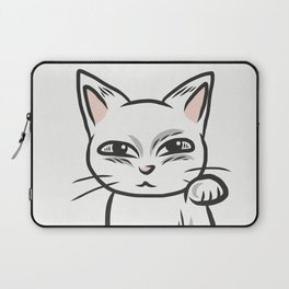 White funny cat Laptop Sleeve