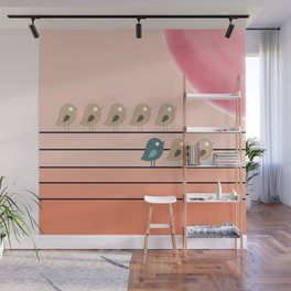 Songbirds on Electrical Wires Wall Mural