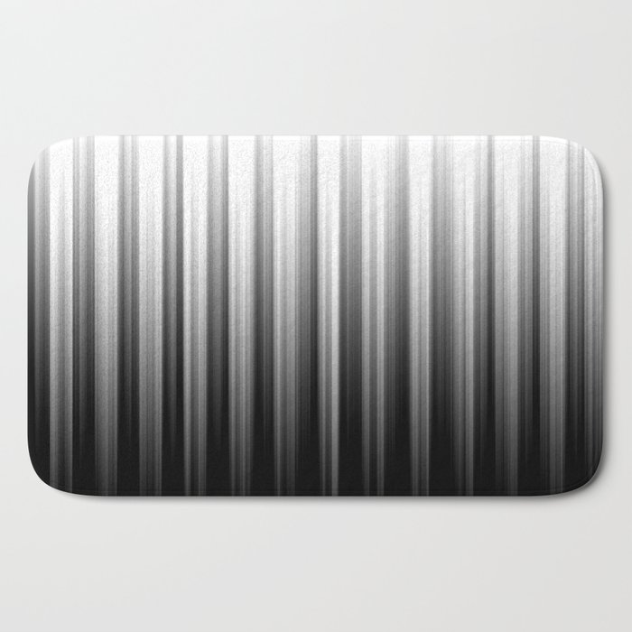 Black And White Soft Blurred Vertical Lines - Ombre Abstract Blurred Design Bath Mat