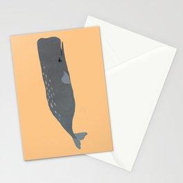 Peach sperm whale nursery Stationery Cards