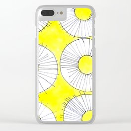 Yellow Sunny Flower Pattern Clear iPhone Case