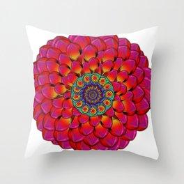 Dahlia Flower Endless Eye Abstract Throw Pillow