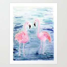 flamingo loves Art Print