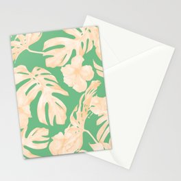 Tropical Palm Leaves Monstera and Hibiscus Jungle Green Coral Peach Stationery Cards