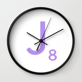 Purple Monogram Letter J Scrabble Wall Clock