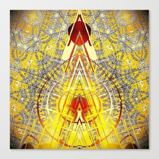 Bright Yellow Pedistal with Rubies Canvas Print