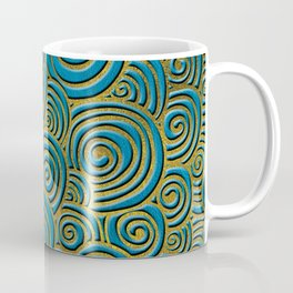 Elegant Golden Doodle Swirl on Blue Leather Coffee Mug