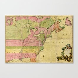 Map of North America by Kitchin, Mitchell and Millar (1755) Canvas Print