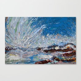 Ocean Waves - palette knife abstract painting of sea landscape Canvas Print
