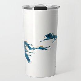 Beautiful Cranes in white background Travel Mug