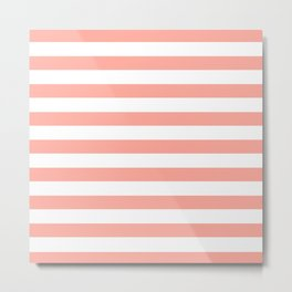 Simply Striped in Salmon Pink and White Metal Print