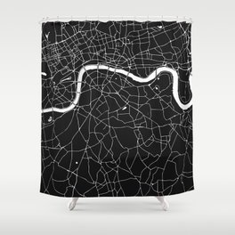 London Black on White Street Map Shower Curtain