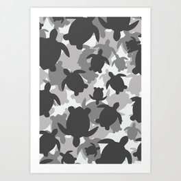 Turtle Camouflage Black and White Art Print