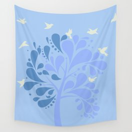 Shady Tree in Blue Pastel Color Wall Tapestry