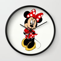 minnie mouse Wall Clocks featuring Cute Minnie Mouse by Yuliya L