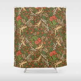 Beige lizard among pomegranate flowers and acacia false on brown background Shower Curtain
