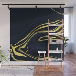 Dark Blue And Gold Marble Wall Mural
