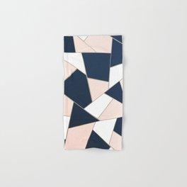 Navy Blue Blush White Gold Geometric Glam #1 #geo #decor #art #society6 Hand & Bath Towel