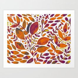 Watercolor branches and leaves - orange and purple Art Print