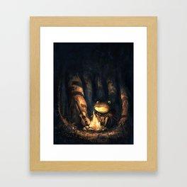 Campfire Frog Framed Art Print