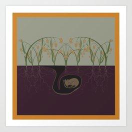 Field Mouse + Northern Sea Oats Art Print