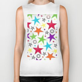 cute colourful stars Biker Tank