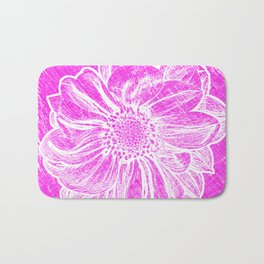 White Flower On Hot Pink Crayon Bath Mat