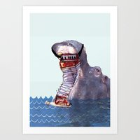 hippo Art Prints featuring Hippo by MGNFQ