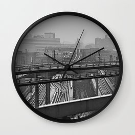 Tales of a Subway Train in Black and White Wall Clock