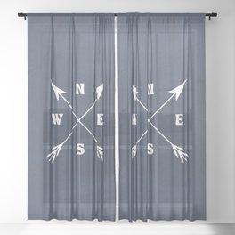 Compass arrows Sheer Curtain