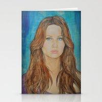 jennifer lawrence Stationery Cards featuring Jennifer Lawrence by Jenn
