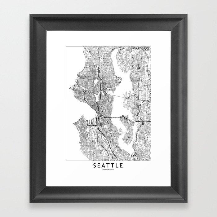 Seattle White Map Gerahmter Kunstdruck